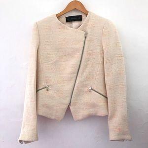 Zara Asymmetrical Zip Tweed Blazer Jacket